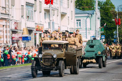 Truck ZIS-5V Foreground Of Parade Soviet WW2 Time Cars. Gomel, Belarus - May 9, 2016: The Scene Of Victory Parade. Russian Soviet Military Truck ZIS-5V With Stock Photography