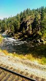 Truckee River Bend by Tracks royalty free stock photography