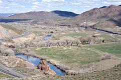 Truckee River Canyon opens up east of Reno. The Truckee River Canyon opens up near Painted Rock, Nevada Stock Photos