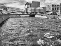 Truckee River in Reno, Nevada. High water on the Truckee River, Reno, Nevada, black and white stock photo