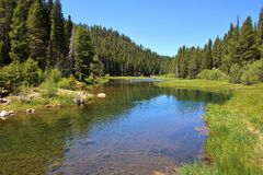 Truckee River Scenery. Truckee River Summer Scenery near Lake Tahoe, California royalty free stock image