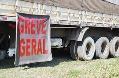 Trucker στην απεργία στοκ εικόνα με δικαίωμα ελεύθερης χρήσης