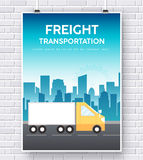 Trucker on road illustration on brick wall background concept Royalty Free Stock Photos