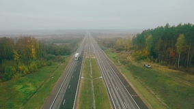 The trucker on the road. Truck best delivery of goods to customer stock video