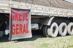 Trucker on strike. Side of a truck with a message written `Greve Geral` on strike written in portuguese Royalty Free Stock Image