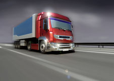 Truckin. A long hall freighter on the highway Royalty Free Stock Photography
