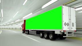 truckin rosso un tunnel Azionamento veloce Metraggio verde dello schermo illustrazione di stock