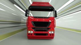 truckin rosso un tunnel Azionamento veloce rappresentazione 3d illustrazione di stock