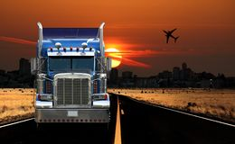 Trucking City View at Sunrise Stock Image