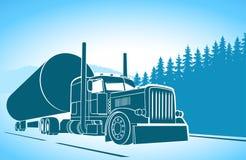 trucking coche grande en el camino libre illustration