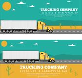 Trucking company flyers with container truck. On the highway. Commercial auto shipping, freight delivery concept. Logistic and transportation industry, goods Royalty Free Stock Photography
