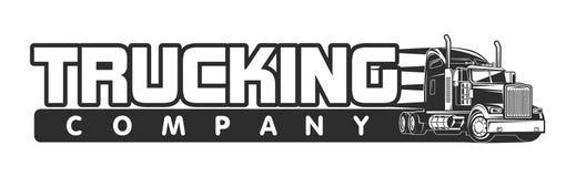 Trucking company logo black and white vector illustration Stock Image