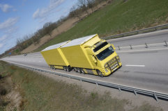 Trucking on highway-straight Royalty Free Stock Photo