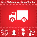 Trucking Icon Vector. And bonus symbol for New Year - Santa Claus, Christmas Tree, Firework, Balls on deer antlers Royalty Free Stock Photos