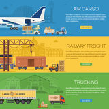 Trucking Industry Banners. With Railway Freight and Air Cargo in Flat style icons such as Truck, Plane, Train. Vector for Brochure, Web Site and Printing Stock Photo