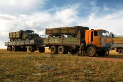 Trucking industry in Mongolia Stock Image