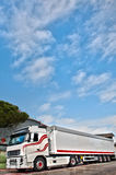 Trucking and logistics. Truck with long trailer, trucking and logistics Stock Photo