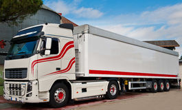 Trucking and logistics. Truck with long trailer, trucking and logistics Royalty Free Stock Images