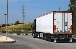 Trucking and logistics. Truck with long trailer, trucking and logistics Royalty Free Stock Photo