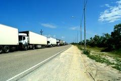 Trucking motorcade Stock Photo