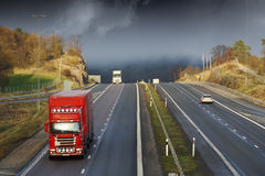 Trucking on scenic freeway Royalty Free Stock Photography