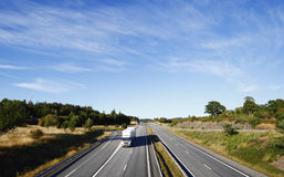 Trucking on scenic freeway Royalty Free Stock Images