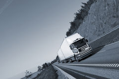 Trucking on scenic highway Stock Photos