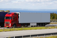 Trucking on scenic highway route Royalty Free Stock Photo