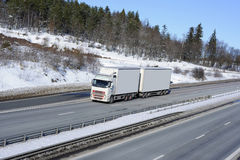 Trucking in snowy winter Stock Photo