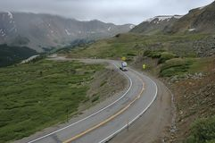 Trucking Up Loveland. A semi tractor trailer climbing to the pass at Loveland Pass, Colorado stock photos