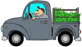 Truckload of corn. This illustration depicts an old blue truck with a load of corn Royalty Free Stock Photo