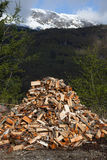 A truckload of firewood. In beautiful countryside west in Norway Royalty Free Stock Photos