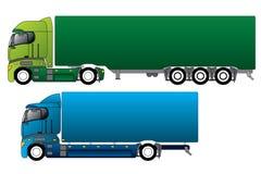 Trucks. European trucks with different cargo Stock Photos