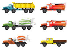 Trucks. Vector color illustration of  trucks. (mixing truck, dump-truck  and  fire engine Stock Photos