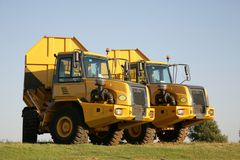 Trucks. Two big trucks standing outside Royalty Free Stock Photography