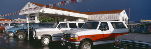Trucks. In used car lot, St. George, Utah royalty free stock photography