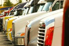 Trucks lined up royalty free stock photography