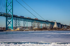Trucks on Ambassador Bridge Stock Photography