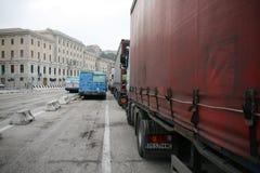 Trucks in Ancona Port, Italy Stock Photo