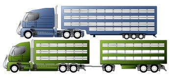 Trucks with animal transportation trailers Stock Photo