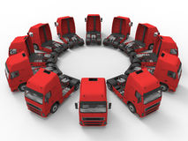 Trucks arranged in a circular array. 3D render illustration of multiple trucks arranged in a circular pattern. The composition is isolated on a white background stock illustration