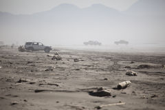 Trucks on the Beach in the Fog Royalty Free Stock Image