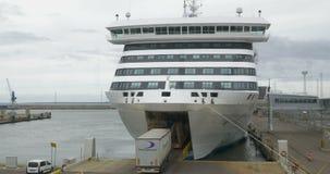Trucks Boarding the Ferry in Harbor of Tallinn stock video