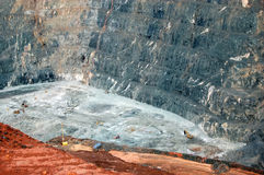 Trucks in bottom Super Pit gold mine Australia stock photography