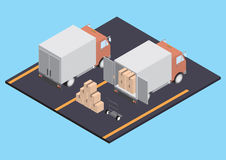 Trucks with boxes Royalty Free Stock Photos