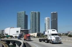 Trucks on the Bridge Stock Images