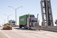 Trucks on the bridge in Miami Stock Photos