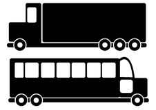 Trucks and bus car icons isolated on white Stock Photo