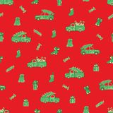 Trucks, cars, Christmas gifts and candies pattern. royalty free illustration