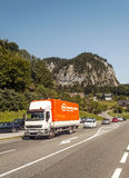 Trucks and cars on a highway in Austria Royalty Free Stock Photo